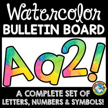RAINBOW WATERCOLOR CLASSROOM DECOR: WATERCOLOR BULLETIN BOARD LETTERS PRINTABLE