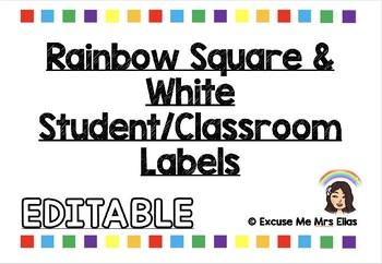 RAINBOW & WHITE STUDENT LABELS [EDITABLE]