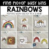 RAINBOWS Fine Motor Busy Bins -spring morning work tubs Preschool, Pre-K, Kinder