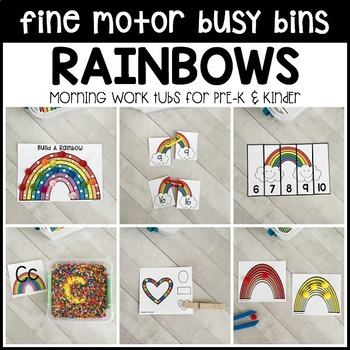 RAINBOWS Fine Motor Busy Bins -spring morning work tubs Preschool, Pre-K, Kinder