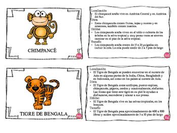RAINFOREST ANIMALS IN SPANISH