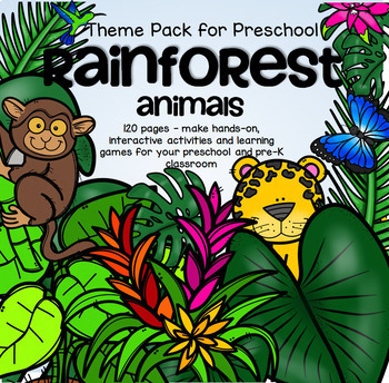 RAINFOREST ANIMALS Math and Literacy Centers for Preschool