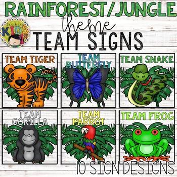 RAINFOREST JUNGLE THEME TEAM SIGNS