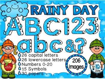 RAINY DAY - Alphabets, Letters,Numbers, Symbols Clip Art (