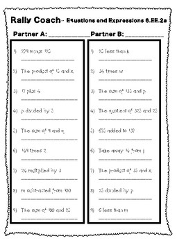 RALLY COACH- Equations and Expressions- 6.EE.1, 6.EE.2a, 6.EE.2c, 6.EE.3a