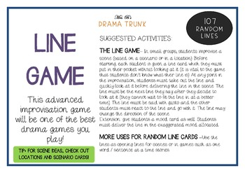 RANDOM LINES Drama / English Cards + suggested drama activities