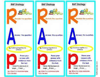 RAP Written Comprehension Strategy Bookmark