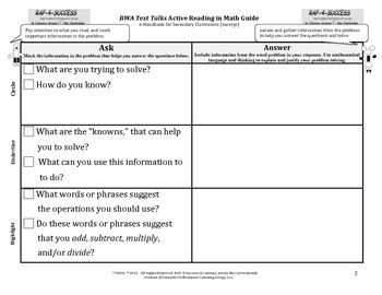 RAP-for-Success in Math Literacy - Active Reading Guide & Handout
