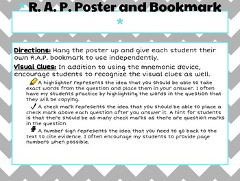 RAP poster/bookmark: mnemonic for short answer, open-ended, and citing evidence