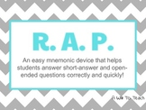 RAP poster/bookmark: mnemonic for short answer, open-ended