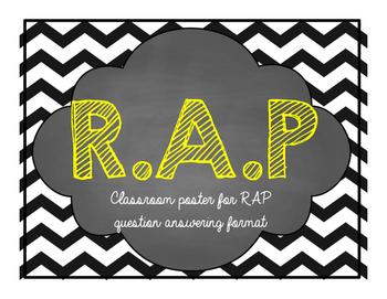 RAP question answering classroom chevron poster