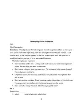 RAPID WORD RECOGNITION FOR SPEED READING