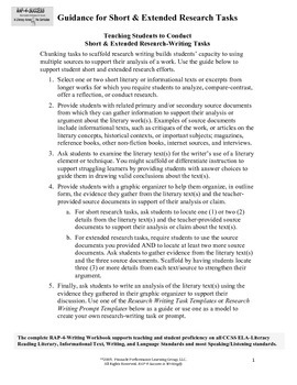 RAPLiteracy Guide to Planning Short and Extended Research Tasks (6-12)