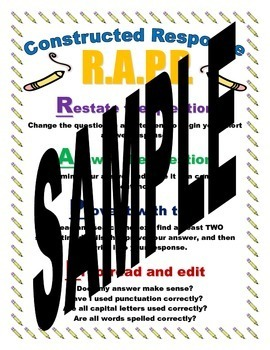 RAPP Constructed Response Strategy Poster and Bookmark Bundle