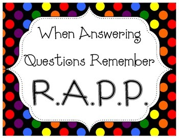 RAPP Posters for Answering Constructed Response Questions