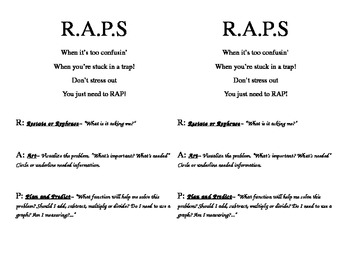 RAPS Problem Solving Strategy RTI kid card