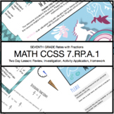 RATES WITH FRACTIONS FULL LESSON: MATH CCSS 7.RP.A.1