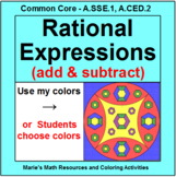 RATIONAL EXPRESSIONS (ADDING AND SUBTRACTING):  COLORING ACTIVITY