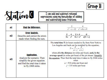 RATIONAL EXPRESSIONS Differentiated STATIONS BUNDLE!