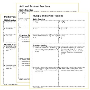 RATIONAL NUMBERS Homework Practice Worksheets - Skills Practice & Word Problems