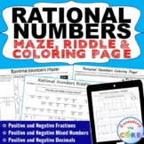 RATIONAL NUMBERS Maze, Riddle & Color by Number Coloring P