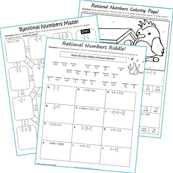 RATIONAL NUMBERS Maze, Riddle & Coloring Page (Fun MATH Activities)