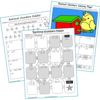 RATIONAL NUMBERS Maze, Riddle & Color by Number (Fun MATH Activities)
