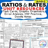 RATIOS & RATES BUNDLE Task Cards, Error Analysis, Problem Solving, HW,  Notes