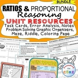 RATIOS & PROPORTIONS BUNDLE Task Cards, Error Analysis, Graphic Organizers