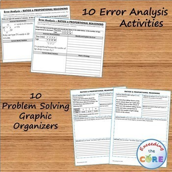 RATIOS & PROPORTIONS BUNDLE Task Cards, Error Analysis, Graphic Organizers