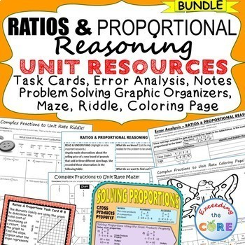 RATIOS & PROPORTIONS BUNDLE - Task Cards, Error Analysis,