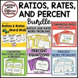 RATIOS RATES AND PERCENT BUNDLE Word Wall and Task Cards