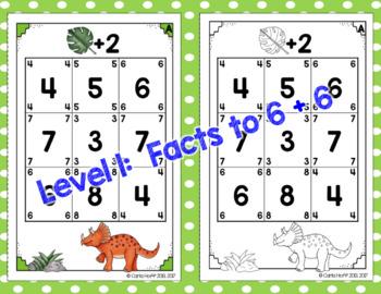 Dinosaur Addition!  Facts to 9 + 9