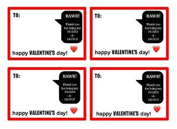 RAWR Dinosaur Valentine Cards