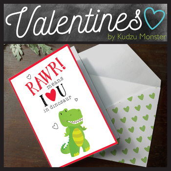 RAWR Means I Love You Dinosaur Valentine Card