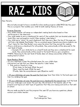 RAZ Kids Letter to Parents