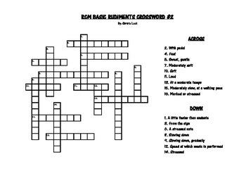 RCM Basic Rudiments Crossword #2