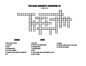 RCM Basic Rudiments Crossword #3