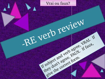 RE verbs in French present tense Review game