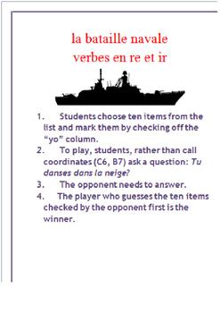 RE & IR Verb Verbal Battleship.FRENCH
