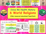 Six World Religions PowerPoint RE RS Islam Christianity etc..