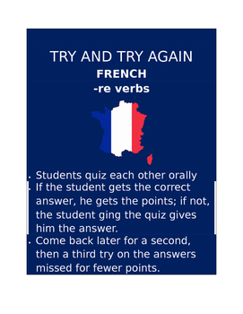 RE Verbs FRENCH Try and Try Again