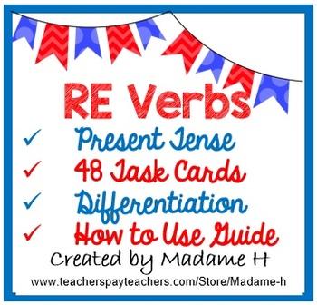 RE Verbs Present Tense Task Cards