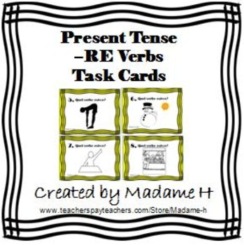 RE Verbs Present Tense Task Cards
