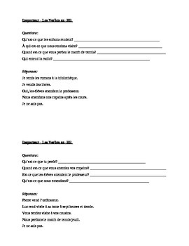 RE Verbs in French Verbes RE Questions Inspecteur Speaking Activity