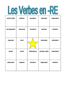 RE verbs in French Bingo