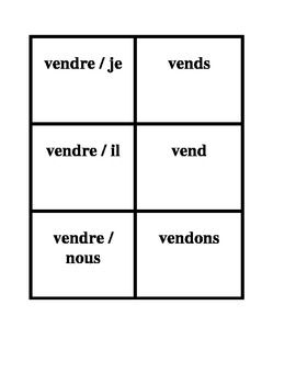 RE verbs in French Present tense Concentration games