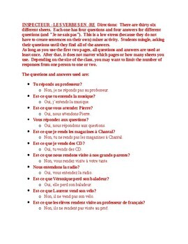RE verbs in French Inspecteur Speaking activity