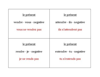 RE verbs in French Question Question Pass activity