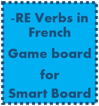 RE verbs in French game board for Smartboard